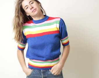 STRIPED 60s 70s cozy PETITE small short sleeve rainbow sweater