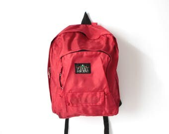 80s red BACKPACK nylon mountaineering daypack CLASSIC lightweight hiking biking bag