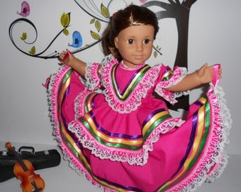 "Mexican folklorico Jalisco dress fits American Girl and similar 18"" dolls handmade in USA"
