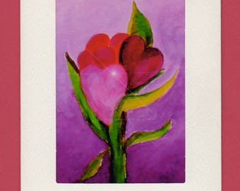 Set of Three Gift Cards-Valentines-Whimsical Art by SQ Streater-Free Shipping