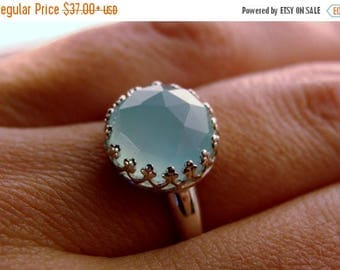 Faceted Sky Blue Chalcedony Bezel Set Sterling Silver Ring Size 7