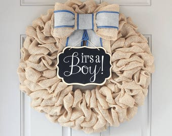 Baby Boy Wreath for Front Door, Its A Boy Sign, Hospital Baby Wreath, Gender Reveal Ideas Decorations, Premium Bow