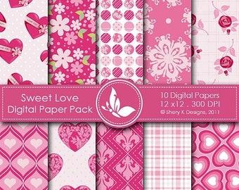 40% off Sweet Love Paper Pack - 10 Printable Digital papers - 12 x12 - 300 DPI
