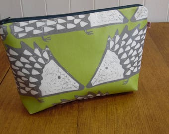 Spike Hedgehog Print Wash Bag Zipped Pouch- lime green 1
