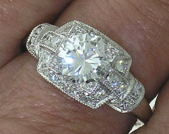 DIAMOND ENGAGEMENT RING~1.10ct E SI1 Round Brilliant in Antique Recreation Ring