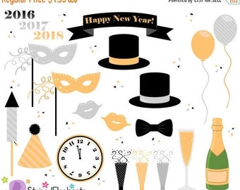 40% OFF SALE New Year's Eve Clip Art - Party Clip Art - Instant Download - Commercial Use