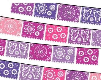 40% OFF SALE Papel Picado Clipart, Digital Fiesta Mexican Banners Clip Art, Cinco de Mayo Clip Art, Printable Papel Picado - PINK Purple