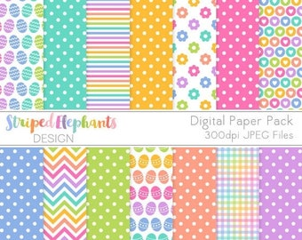 40% OFF SALE Easter Fun Digital Paper Pack, Spring Digital Scrapbook Paper, Easter Printable Paper, Instant Download, Commercial Use