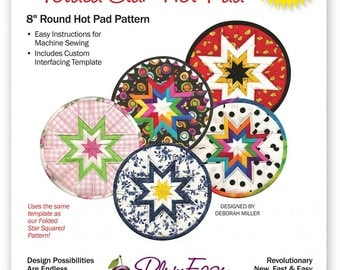 """Rounded Folded Star Hot Pad Pattern, 8"""" Round Hot Pad Pattern"""