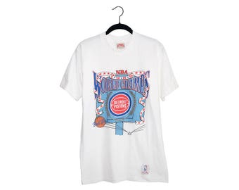 Vintage 1989 Detroit Pistons Official NBA Licensed Nutmeg Mills World Champions 100% Cotton T-Shirt, Made in USA - Medium