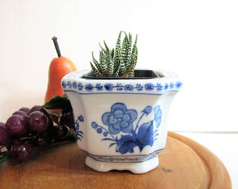 "Vintage Delft Blue Floral on White Footed Square Planter, Cachepot, Clipped Corners Porcelain Jardiniere ... 2.75"" Square Pot Planter"