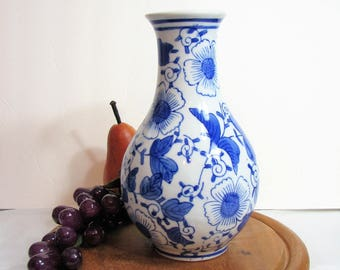 "Blue White Floral Porcelain Vase, Vintage Chinoiserie Decor, 8"" Tall Flower Vase ... Asian Blue Floral on White"