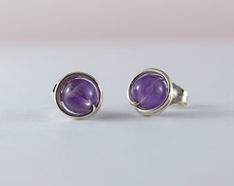 Silver stud earrings - Amethyst earrings - 9mm handmade post earrings- Healing stone - February birthstone - Free shipping to CANADA and USA