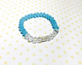 Stackable Bracelet, blue & clear crystals, stretchy, beaded, layering, handmade, item no. L434
