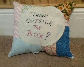 Handmade,  Hand Embroidered, Accent Pillow, Whimsical, Think Outside The Box!, Patchwork, Quilt, Tuck, One of a Kind, OFG