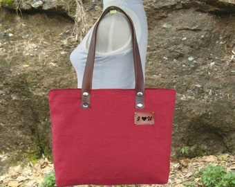 Easter Sale 20% off - Red canvas tote bag, personalized shoulder bag, leather strap diaper bag, women's bag, unique travel bag