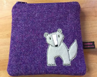 Badger zipped purse, purple Harris Tweed zipper purse, small make up bag, appliqued badger embroidered purse