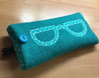 Jade Harris Tweed glasses case, specs, sunglasses, sunnies, appliqued spectacles case, eyeglasses pouch