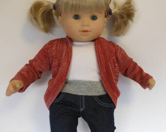 Slouch Cardigan fits American Girl Bitty Baby; 15 inch doll sweater