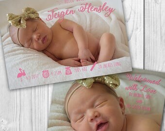 Birth Announcement Card 5x7/Digital File/Two Sided/Printable/Personalized Photo/Double Sided/Baby Announcement/Girl/Boy/Custom Announcement