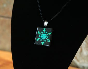 Fused Glass Pendant on Silver Bail