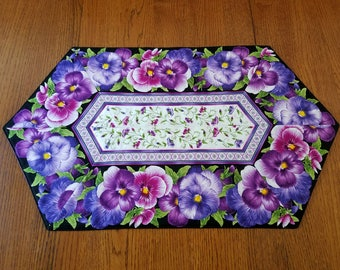 Purple Pansy Flowered Quilted Table Runner