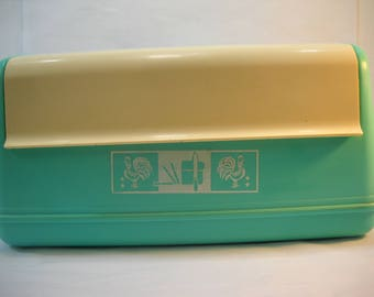 Vintage Lustro Ware Teal Plastic Bread Box Rooster Design Stock No. B-20 FREE SHIPPING