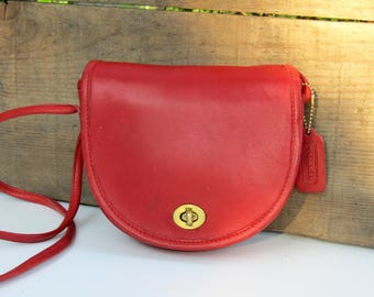 Vintage Coach // Small Crossbody Bag in Red Leather // Coach Saddle Bag // New York City