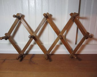 Vintage Accordian Folding Wooden Mug Rack, 10 Peg Rack, Jewelry Rack