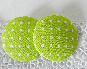 Button green fabric with dots, 40 mm / 1.57 in diameter
