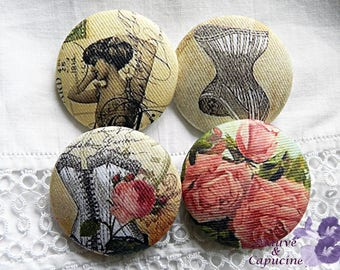 4 fabric buttons,  printed retro women, 0.94 in / 24 mm