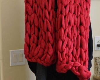 Christmas in July Sale Handcrafted Chunky Merino wool scarf  Red Scarf, super Bulky scarf Big yarn scarf, Christmas gift, Gift for her