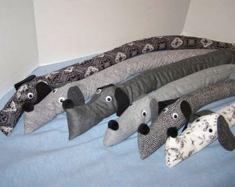 We've got black & white and gray as well! Dachshund draft stopper; wind blocker; dog; energy saver; draught excluder;