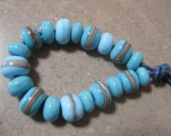 Lampwork Glass Beads. Turquoise, Aqua and Silver Ivory Beads. Handmade Glass Beads. Australian Artisan Glass Beads. Kiln Fired Beads.