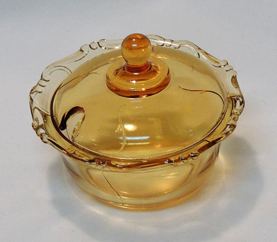 Vintage Amber Depression Glass Covered Bowl Jelly / Jam Sauce Dish