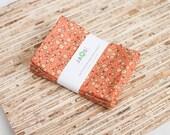 Small Cloth Napkins - Set of 4 - (N3701s) - Orange Small Floral Modern Reusable Fabric Napkins