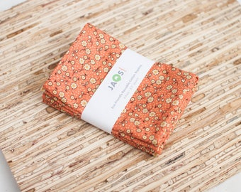 Small Cloth Napkins - Set of 4 - (N3701s) - Orange Small Floral Modern Reusable Fabric Napkins