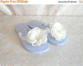 ON SALE Bridal Flip Flops, Hawaiian Slippers, White Satin Wrapped and Embellished With a Creamy White Flower