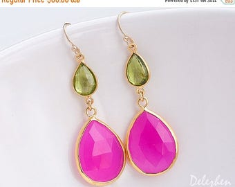 40 OFF - Fuchsia Earrings - Hot Pink earrings - Peridot Gemstone earrings - Gold drop earrings - Dangle Earrings