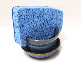 Blue with Brown and Tan Ceramic Sponge Holder, Kitchen Sponge Holder, Bathroom Sponge Holder