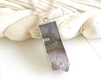 Amethyst Bar Slice Druzy Necklace in Silver Geode Necklace. Druzy Jewelry. Raw Stone Necklace. Gold Necklace.  Statement Necklace. Jewelry