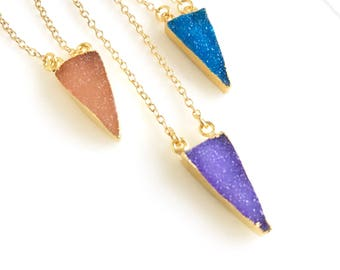 Small Druzy Triangle Necklace. Geode Necklace. Druzy Jewelry. Stone Necklace. Colorful Gold Necklace.  Simple Necklace. Gift.