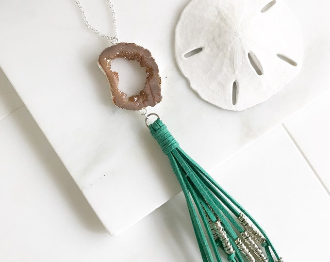 Boho Tassel Necklace. Turquoise and Peach Tassel Necklace in Silver. Long Turquoise Slice Tassel Necklace. Boho Jewelry. Unique Gift Idea.