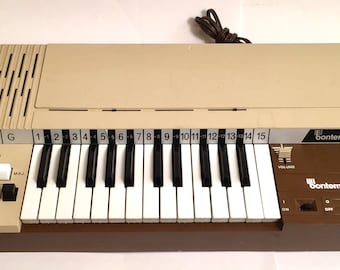Vintage brown Bontempi Electric Musical Air Organ Farfisa style