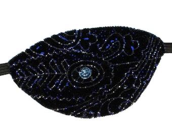 Velvet Eye Patch Solar Systems Blue Black Jeweled Fashion Fantasy Eyepatch Pirate Steampunk