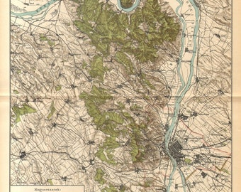 1893 Original Antique Map of Budapest and its Surroundings at the End of the 19th Century