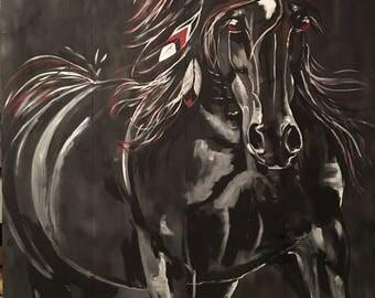 """Dark Horse Painting - """"Apache"""""""