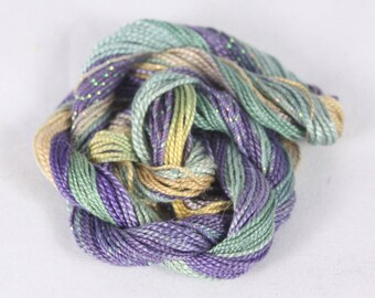 Amethyst purple gold Teal Cotton Perle Embroidery sewing thread hand dyed crochet weaving yarn # 8, 5 metallic sewing thread variegated
