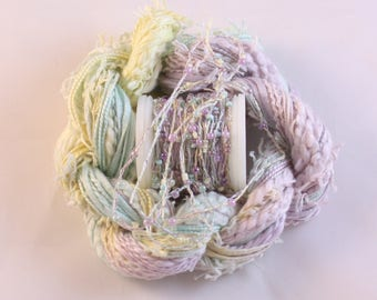 Pastel Aqua lilac lemon Beaded Embroidery thread with seed beads waldorf doll hair hand dyed weaving fibre art embellishment bead yarn