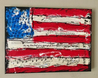 United states Fourth of July music art painting america USA american flag musician singer gift national anthem CANVAS